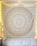 Aakriti Gallery Baumwolle Mandala Wandteppich Wandbehang - Böhmische Tagesdecke, Boho Decke/Überwurf Wandteppiche für Wohnzimmer, Wohnkultur (Golden Old Ombre, 235 x 210 cms)