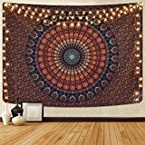 Alishomtll Mandala Wandbehang Bohemian Wandteppich Sandtuch Tapisserie Yoga psychedelisch Deko Tuch Tapestry groß Tischdecke 150 x 130cm