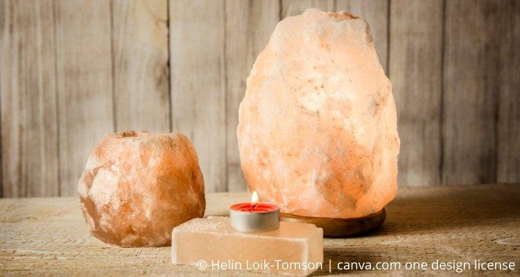 Salzlampen mit Strom und Teelicht